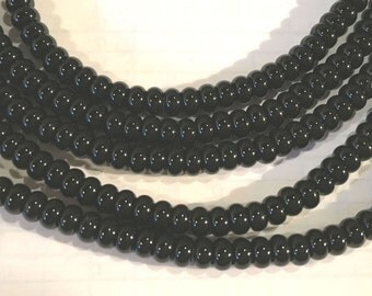 "14.75"" Strand AAA 6mm Black Onyx Rondelle Beads"