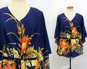 Tropical Tunic Top Vintage 70s Cape Shirt V Neck Flutter Sleeve Boho Blouse Vacation Pullover Tie Belt Long 1970s Hippie Retro Blue S M L XL