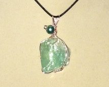 Wire Wrapped Mint Green Calcite Pendant