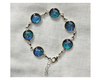 Midsummer #6 Silver Link Bracelet with deep blue settings and original art