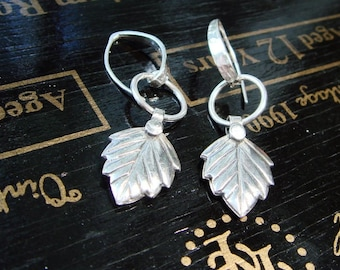 Hill Tribe Silver Earrings, High Content Fine Silver Leaf Earrings, Autumn, Fall Fashion - Everyday, Modern, Dangle, Drop Silver Earrings