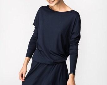 SALE - Blue dress | Knee length dress | Blue long sleeve dress | LeMuse blue dress