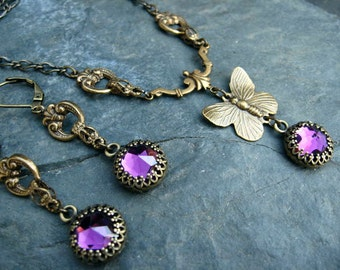 Swarovski Amethyst Butterfy Necklace and Earring Set - N209