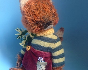 SALE 9 inch Artist Handmade Mohair Teddy Fox Huckleberry Finn by Sasha Pokrass