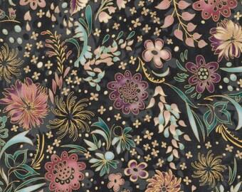 Robert Kaufman - Lumina 2 - Floral w/Metallic - Charcoal - Fabric by the Yard APTM15916184