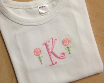 Monogrammed Lolipop Tee - Monogrammed Shirt with Lolipops