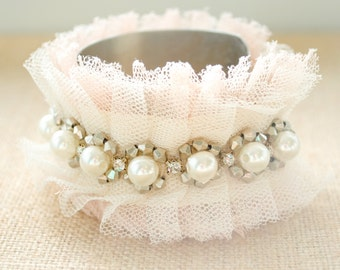 Peaches and Cream Lace Cuff Bracelet - Adjustable Bracelet - Tulle - Rhinestone Bracelet - Bridal Lace Cuff Bracelet - Prom Jewelry