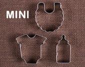 MINI Baby Cookie Cutter Set: Mini Bottle Cookie Cutter, Mini Bib Cookie Cutter, Mini Onesie Cookie Cutter, Mini Baby Fondant Cutters