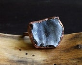 Druzy Geode Ring Copper Raw  Gemstone Ring Size 8.5 Druzy Statement Ring Rough Stone Jewelry