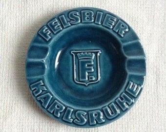 Vintage Karlsruhe Felsbier ASHTRAY.  Lovely Green Glaze Poyyery Ashtray.  Barware. Cigarette, Cigar, Smoker.