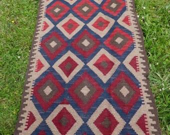 6 ft 4 x 2 ft 4   Traditional pattern Maimana Hand woven Rug/Kilim Runner. 194 x 72 cm  Yurt. Tapis