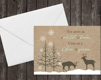 Christmas Cards, Burlap, Country Chic, For Unto Us, Scripture, Merry Christmas Cards, Spiritual, Set of 12 Printed Cards