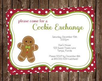 Christmas, Cookie, Exchange, Party Invitations, Polka Dots, Gingerbread, Holiday Parties, 10 Printed Invites, FREE shipping, Green, Red