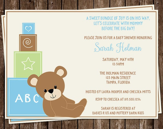 Bear Baby Shower Invitations Teddy Bears Building Blocks