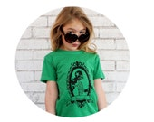 "Youth ""Skate or Die"" Skeleton Skater Tshirt, Junior Roller Derby Graphic Tee Shirt, Hand Screen-printed, Roller Skating, Kelly Green top"