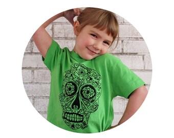 Weekly Special Sale Day of the Dead Sugar Skull  Tshirt In Summer Bright Apple Green, Mexican Folk Art, Screenprint shirt, Hand Printed