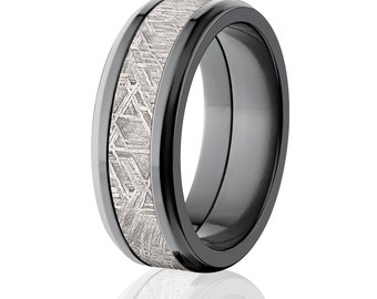 8mm Beveled Meteorite Wedding Rings, Black Zirconium Wedding Bands: Meteorite-Ring-8FT-Z