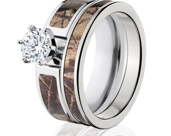Cobalt Camo Bridal Set with 1K Round CZ RealTree AP :6F14G1RCTW and 4HR_RealTreeAP