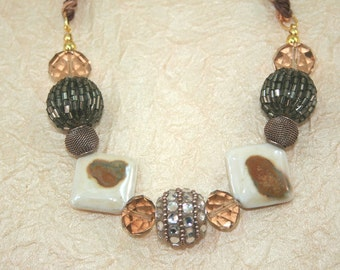 Large Bead Bib Necklace, Braided and Beaded  Adjustable Choker/Necklace,  Big Bead  Boho Necklace in Turquoise , Brown and Silver