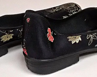 Black Chinese Brocade Dancing Shoes