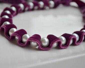 Velvet Choker. Velvet Ribbon Necklace. Velvet Pearl Choker. Plum Purple. Jet Ribbon Necklace. Winter Fashion. Gift for Her. Womens Jewelry.