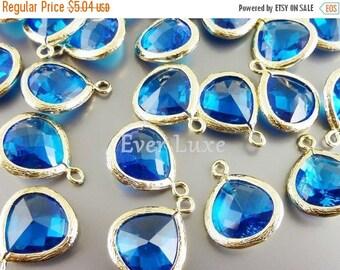 15% SALE 2 capri blue glass pendants, teardrops with gold bezel frame, glass charms, jewelry 5064G-CB-13 (bright gold, capri blue, 13mm, 2 p