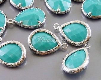 2 pcs blue green turquoise teardrop glass pendants, glass beads,  5060R-TU