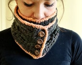 Crocheted Cowl Muffler Scarf with Wooden Buttons Handmade with 100% Hand-dyed Wool