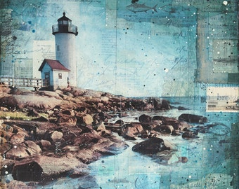 "Afternoon at Annisquam - 24"" x 24"" original Gloucester New England lighthouse mixed media painting"