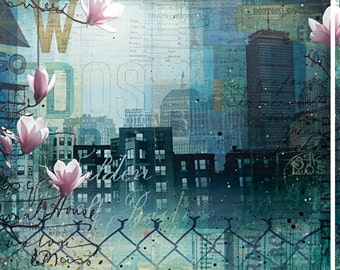 "Through Fences and Flowers - 90"" x 36"" original Boston abstract skyline mixed media painting"