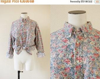 70% OFF ... Floral shirt    Cotton liberty print shirt    1990's by cubesansquirrels    medium