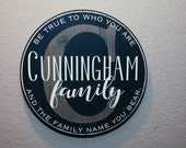 """15""""  Round Initial & Last Name Signage - Custom Quote - Family name"""