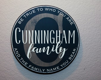 "15""  Round Initial & Last Name Signage - Custom Quote - Family name"