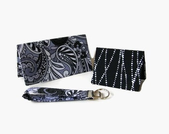 Paisley Purse Accessory Set - Checkbook Cover / Coupon Holder, Credit Card / Business Card Holder, Key Fob - 3 Piece Set - Mini Wallet