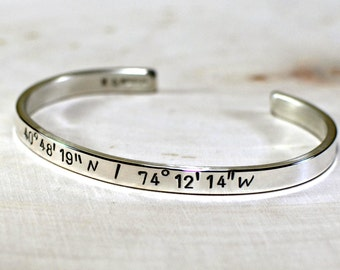 Latitude longitude sterling silver cuff bracelet for your personalized coordinates - solid 925 BR997
