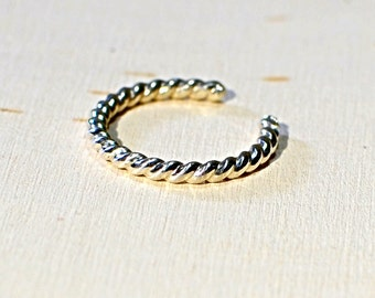Sterling Silver Twisted Wire Toe Ring - Solid 925 TR231