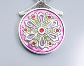 Ivy Woodrose sterling silver, pmc and resin and snowflake pendant