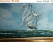 Ocean w Sailboat Oil Painting Lg-Vintage--GORGEOUS--Low Price  FREE Local Delivery