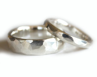 His and Hers Wedding Rings Set Eco Friendly Argentium Silver Wedding Band set of TWO Faceted comfort fit wedding rings