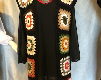 Gypsy Hippie Vest Sweater Top Black, Mixed Colors