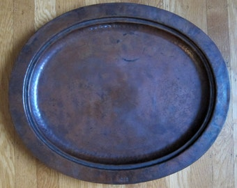 STICKLEY BROS. hand hammered copper tray with stamped model number