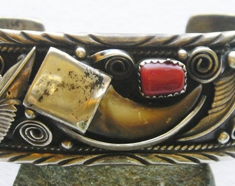 Navajo Sterling Silver Turquoise Coral Claw Cuff Bracelet