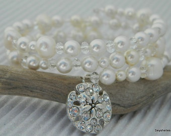 Wedding Memory Wire Swarovski Pearl with Crystal Sand Dollar Bracelet