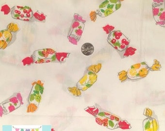 Candy on White Fabric, 1 yard