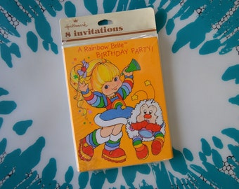 Vintage 1980s Set of 8 Rainbow Brite Birthday Party Invitations