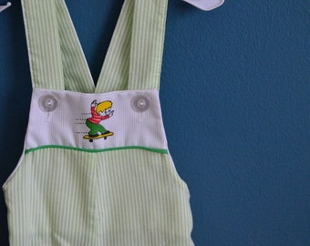 Vintage Green and White Striped Little Skateboarder Overalls - Size 18 Months