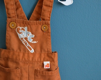 Vintage 1970s Brown Overalls with Crayon and ABC Applique - Size 6-9 Months