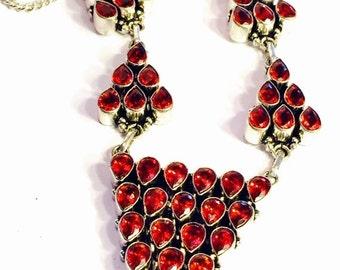 Mothers Day SALE Beautiful Garnet Open back Sterling Silver Geometric Vintage Necklace