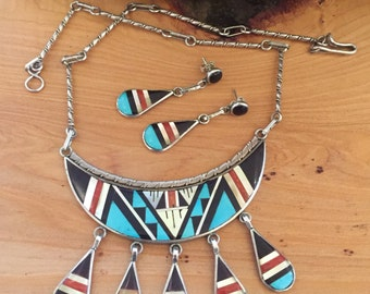 Beautiful Zuni  Stone Inlay Turquoise Onyx Coral Mop Sterling Silver Vintage Necklace Native American Jewelry