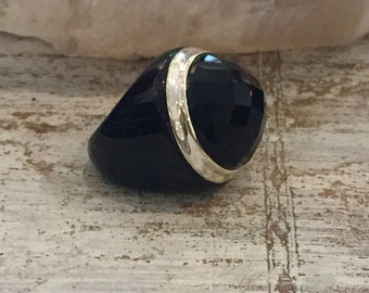 Bold and Beautiful Carved Black Onyx Sterling Silver Vintage Ring